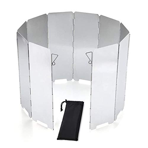 10 Placas Parabrisas Plegable, Parabrisas Aluminio aleación de Aluminio Gas Parabrisas Placas Al Aire Libre, Pantalla de Viento de Cocina de Camping para acampar, barbacoa, picnic, estufa de gas