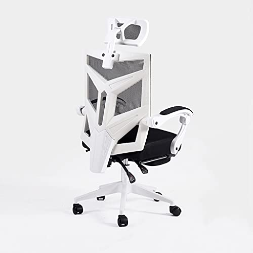 zdz Silla de Oficina Transpirable con Soporte de polea, Silla de Escritorio Ajustable de Malla ergonómica con reposabrazos, para Oficina, Dormitorio, hogar (Color : White+Black)