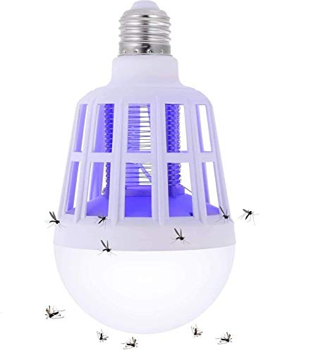 Bug Zapper, 2 in 1 Mosquito Killer Lamp Bug Zappers Light Bulb LED Electronic Insect & Fly Killer Indoor & Outdoor Insect Zapper Fly Trap for Home Kitchen Indoor Outdoor Patio Backyard - 110V E26/E27