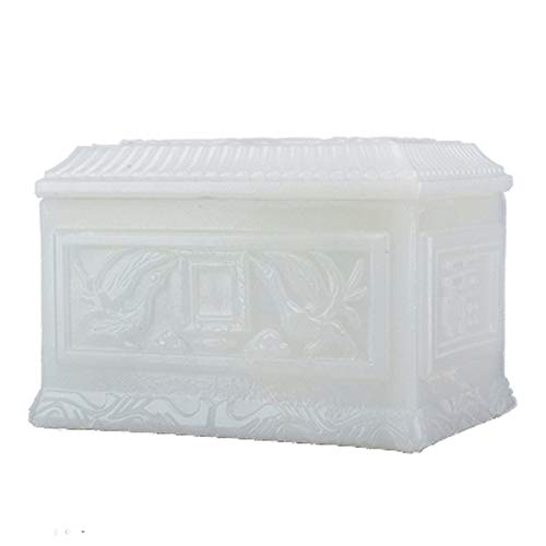 DJALSKJ Urn Ashes Cinerary Casket Ceramics Handcrafted Engraving White Jade Coffin Moisture Proof Corrosion Protection Memorial Cremation Urns,7