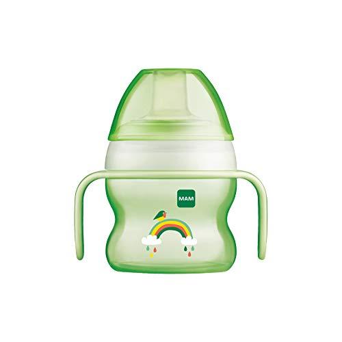 MAM Starter Cup Baby Trinklernbecher (150ml), Trinkflasche für erste Trinkversuche, Schnabelbecher mit rutschsicheren Griffen, ab 4 Monaten, grün, Tiermotiv