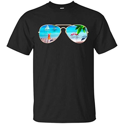 Gafas de Sol Flamingo Beach Palm Trees Camiseta Casual de Manga Corta Negra para Hombre
