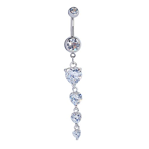 Mutreso Belly Button Ring Heart Zirconia Stones 14G Surgical Steel Dangle Navel Ring Body Piercing