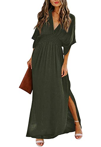 Meenew Women's Summer Dress with Slit Party Loose High Waist Long Maxi Dress S Army Green