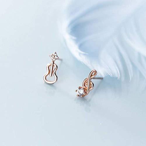 WOZUIMEI S925 Pendientes de Nota Asimétricos de Dama Pequeña de Plata Pendientes de Violín de Micro Diamante Lindooro rosa