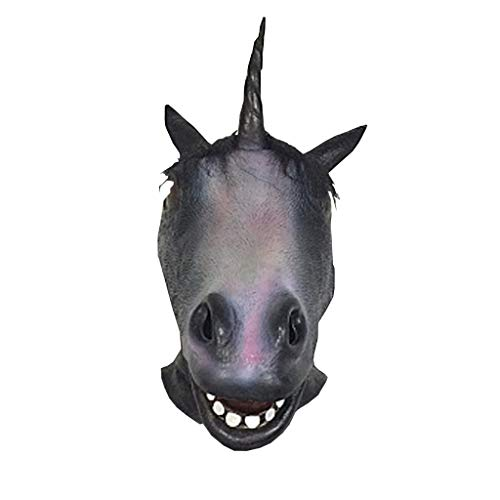 JGBHPNYX eenhoorn-masker, Halloween bar dier, latex, hoofdtooi