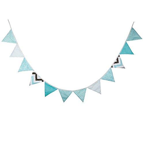 Vi.yo Diseño de jardín de Fondo de Bandera de algodón Triangular para decoración de Guirnalda de Boda de Fiesta Producto Supply Size 17x17x17cm (Azul)