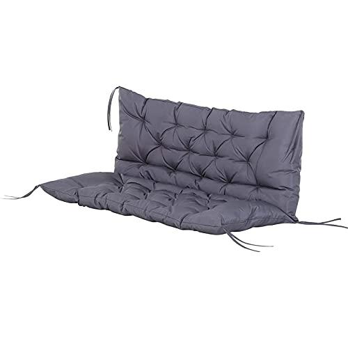 Cuscino per panca da giardino con schienale spesso 2-3 posti, cuscino per sedia a dondolo da per esterni e patio Materassino altalena (Senza sedia) gray,120x100x8cm
