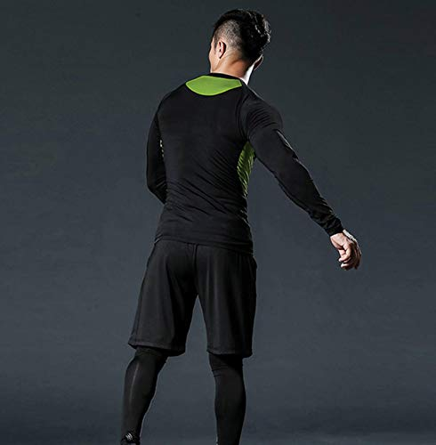 N-B Ropa de Fitness Traje de Hombre Ropa de Secado rápido Ropa de Fitness Entrenamiento Baloncesto Manga Larga Alto elástico Ajustado para Correr