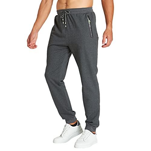 ZOXOZ Jogginghose Herren Baumwolle mit Reißverschluss Taschen Graue XL