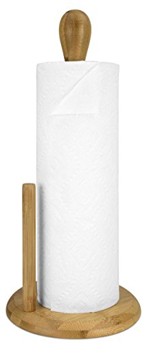 Home Basics Heavy Duty Natural Bamboo Paper Towel Holder Organizer and Stand, Beige