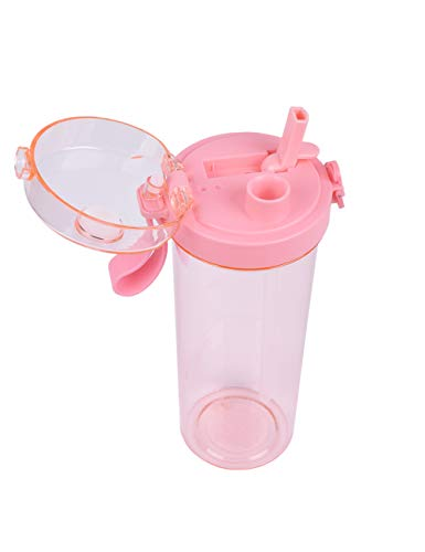 SPDYCESS Botella de Agua Deportiva, 520ml Reutilizable Plástico Botella Agua Deporte con Pajita y Tapón a Prueba de Fugas para Senderismo al Aire Libre, Viajes de Campamento, Libre de BPA