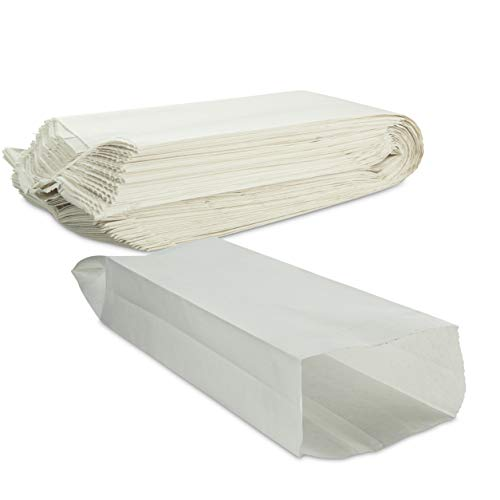Plain White Paper Bread Bag 4' x 2 1/2' x 16' Keep Bread Fresh by MT Products - (100 Pieces)