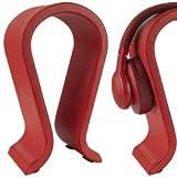 Geekria Headset Stand for Sony, Beats, JBL Headphone, Leather Headphone Stand, Earphone Holder Table Desk Display, Medium Over-Ear Earphones Rack Hanger (Red) M