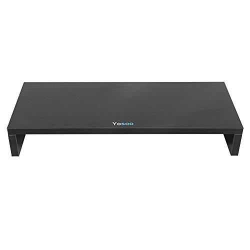 Estink - Elevador de pantalla de ordenador de madera, soporte para monitor PC y TV, soporte de pantalla de ordenador portátil, PC, para ordenador portátil, impresora, televisión, color negro