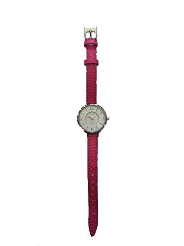 Reloj con correa de piel y esfera fondo blanco mariquitas fucsia Small