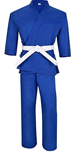 Knockout Martial Arts Karate Black Uniform for Kids & Adults Medium Weight Taekwondo Gi Free White Belt… (Blue, 000 (3'5
