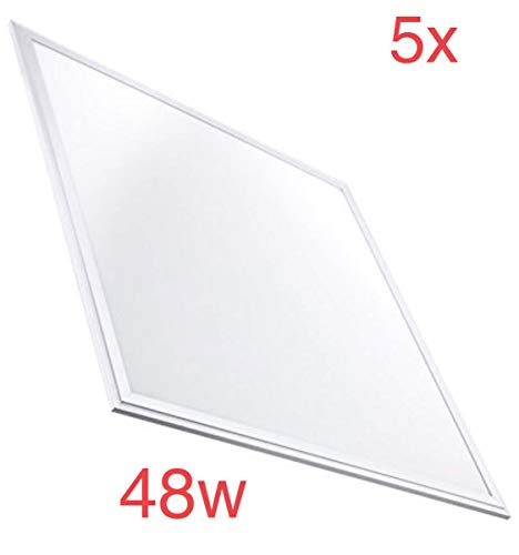 Pack 5X Panel Led 60x60cm, 48w, 4400 lumenes reales. Blanco 6500K, Driver Incluido. 595 x 595 x 8 Mm
