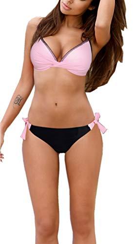 Womens 2 Piece Bikini Swimsuit Halter Bandeau Bathing Suits US Large S-Pink Black