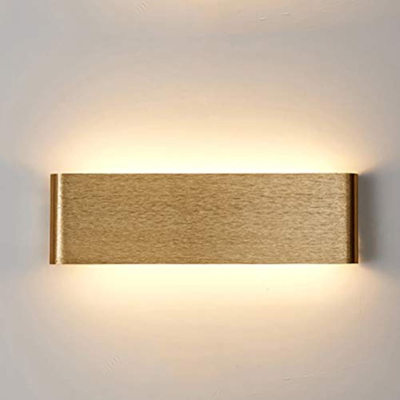LIGHTLAMPER Praktisch Einfache Wandleuchte Modern Dekorativ Led Wandlampe Aluminium Quadrat Schlafzimmer Wohnzimmer Beleuchtung Beleuchtung Gang Flur Wandleuchten Gold Gebürstet