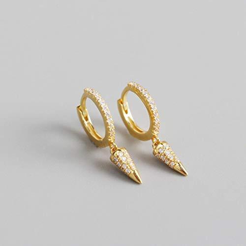 GoodLuck Pendiente de aro de circonita de Diamantes de imitación de Cono geométrico de Plata de Ley 925, joyería de Temperamento de Lujo Ligero de Estilo francés para Mujer