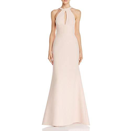 BCBG Max Azria Womens Cut-Out Halter Evening Dress Pink 2