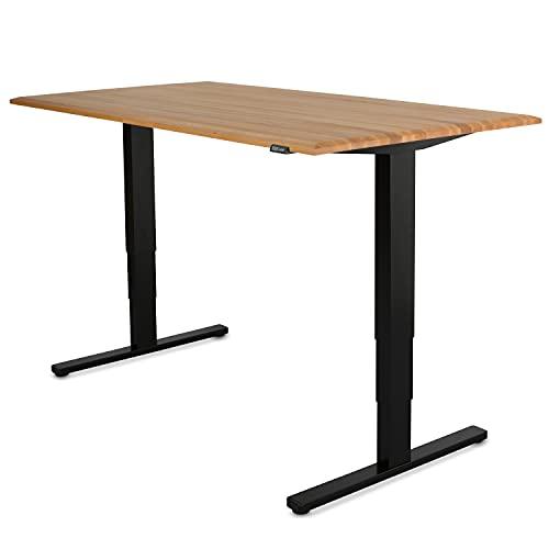 Staboos Höhenverstellbarer Bürotisch 70-130 cm, Buche geölt, 140x80x25, Gestell Schwarz Schreibtisch Elektrisch - Massivholz Stehschreibtisch - Height Adjustable Office Desk - Steh Schreibtisch