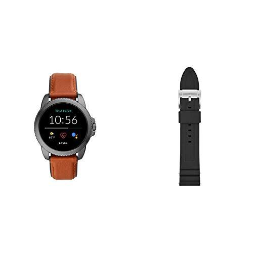 Fossil Connected Smartwatch Gen 5E para Hombre con tecnología Wear OS de Google, frecuencia cardíaca, GPS, NFC y notificaciones smartwatch, Cuero Marrón/Silicona Negro + Correa para Reloj S221304