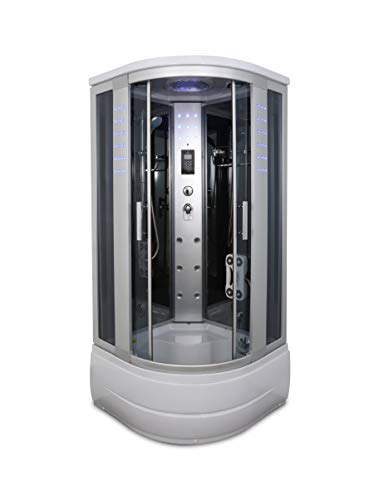 Kokss Y8004-A Corner Shower Room with Glass Sliding Doors & Base Includes Massage Jets, Radio, Ventilation Fan & Lighting No Steam