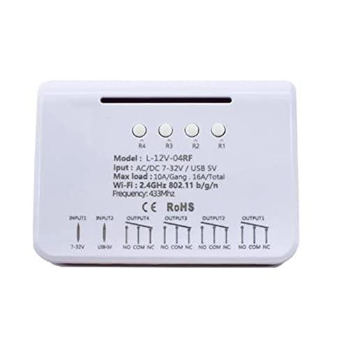 Timagebreze Para Ewelink Relay 4CH MóDulo de Interruptor de Casa Inteligente Wifi RF 7V-32V 16A Temporizador Inteligente de Control Remoto de Radiofrecuencia de Relé