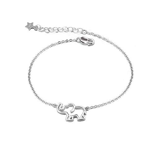 Elefanten Armband Damen Sterling Silber Verstellbare Armbänder für Frauen Mädchen (silberne Elefanten ohrringe)