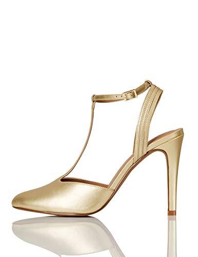 Marca Amazon - FIND Stiletto Round Toe T-Bar Zapatos de Tacón, Dorado (Mirror Gold), 37 EU