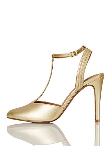 Marca Amazon - FIND Stiletto Round Toe T-Bar Zapatos