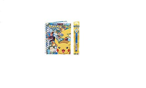 Pokemon bestickter Plüsch Rucksack Pikachu Gelb Schulranzen Hardcover Spiralbuch Farbstift mit drehbarem Pikachu Topper Schul-Briefpapier Set für Kinder/Kleinkind/Kinder – 3-teilig