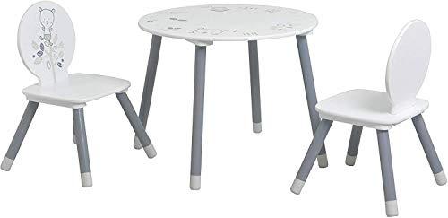 GXK Kindermöbelset Echtholz & MDF Kindertisch 2X Kinderstuhl Kinderhocker