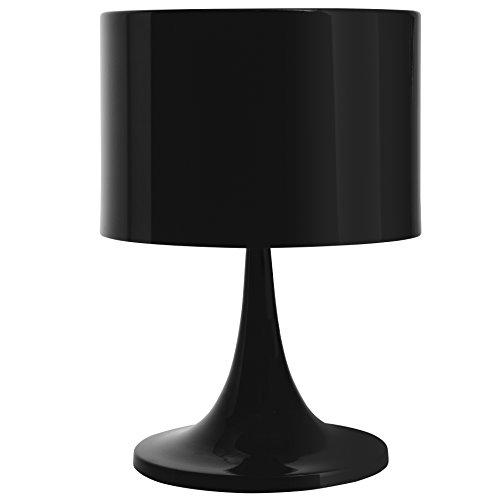 FineBuy Design Tischleuchte TALI Metallschirm-Lampe Nachttischlampe hochglanz | Tischlampe schwarz Ø 25cm | Metalllampe E27 bis 60W | Leselampe 1-flammig IP20