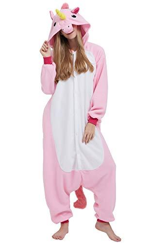 Kigurumi Pijama Animal Entero Unisex para Adultos con Capucha Cosplay Pyjamas Unicornio Rosa Ropa de Dormir Traje de Disfraz para Festival de Carnaval Halloween Navidad