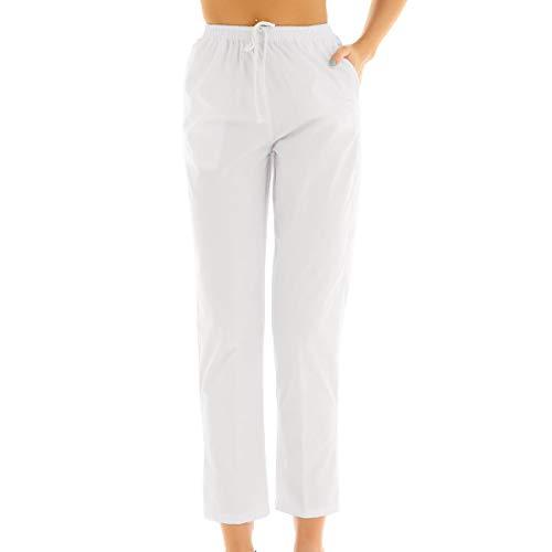 inlzdz Damen OP-Hose weiße Schlupfhose Uniformen Hose mit Kordelzug Medizinische Bundhose aus Baumwolle Pflegerhose Medi Hose Weiß S