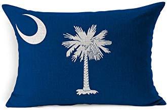 DarrenOw02 USA - Funda de cojín rectangular con diseño de la luna azul del estado del Sur de Estados Unidos, color blanco auténtico, 16 x 24 pulgadas, para sala de estar, sofá, decoración al aire libre