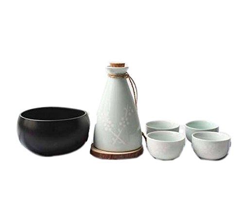 Ensemble de 6 Verres en céramique à Style Japonais Set de vin, Vert Clair