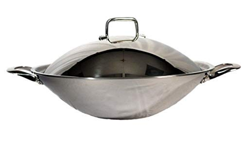 SL-PA400A: 16.5″ Stainless Steel Wok with Lid (Induction Ready)