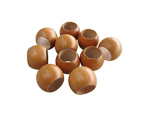 10 Schlaufenkugeln Zierkugeln aus Holz für Gardinen/Holzkugeln mit Loch/Ø Loch 16,5 mm/kirsche