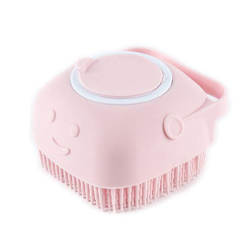 Dog Cat Bath Brush, Pet Grooming Soothe Massage Brush with Shampoo Dispenser Soft Silicone Bristle, for Short Haired Dogs Cats Shower