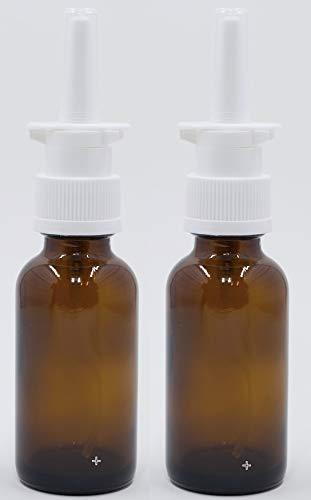 Empty Amber Glass Nasal Sprayer 2-Pack for Intranasal Insulin, Colloidal Silver and Saline Applications, 30ml (1oz) -dispenses .1 ml = 10 IU