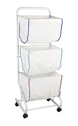 WENKO Wäschesammler Escala - Wäschekorb, mit 3 Körben, 44 x 126 x 46 cm, weiß