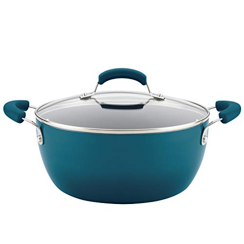 Rachael Ray Brights Nonstick Dish/Casserole Pan with Lid, 5.5 Quart, Marine Blue Gradient
