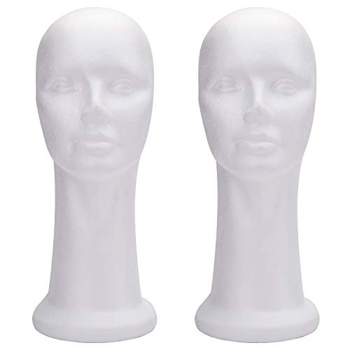 Foraineam 2 Pack 15 Inch Styrofoam Head Female Foam Wig Head Mannequin Manikin Cosmetics Model Head Women's Wigs Display Glasses Hats Hairpieces Stand