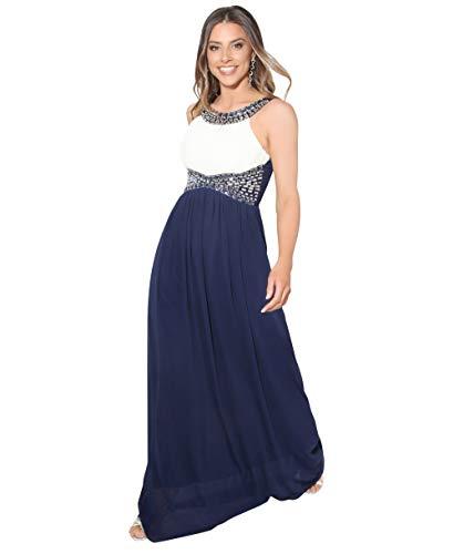KRISP Vestido Fiesta Largo Dama de Honor Corte Imperio Invitada Boda Tallas Grandes Elegante Madrina Ceremonia, (Crema/Azul Marino (5274), 36 EU (08 UK)), 5274-CRMNVY-08