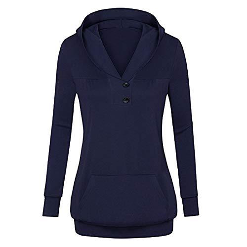 Csc Hoodie Damen Sweatshirt Damen Elegant Knopfleiste Schlank Bequeme Einfarbig Mode Klassisch Kapuzenpullover Känguru-Tasche Lange Ärmel Damen Kapuzenpullover D-Blue XL