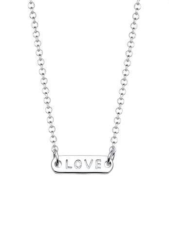 Elli Damen-Kette mit Anhänger Statement Love-Schriftzug 925 Silber 45 cm - 0109921516_45